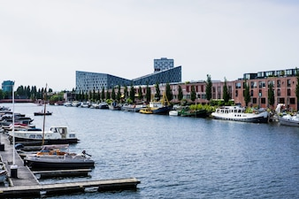 City port with yachts. Amsterdam