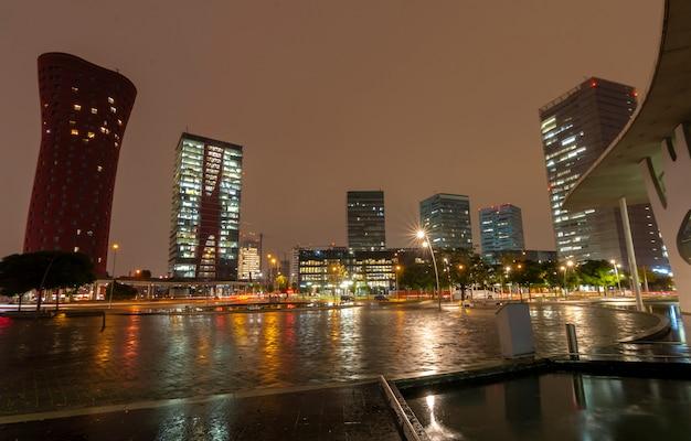 City under the rain