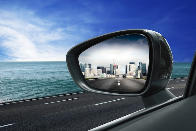 City in rearview mirror