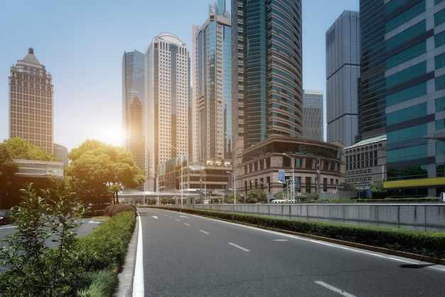City road and modern building background