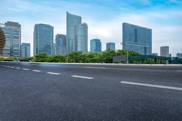 City road through modern buildings in china