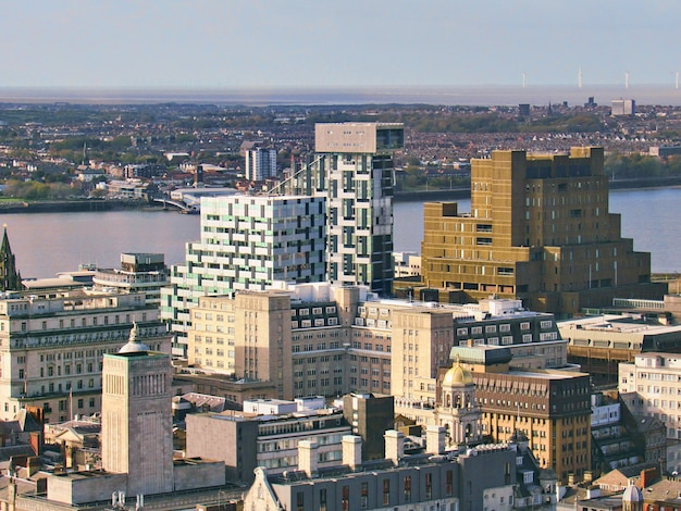 City and sea with old architecture in liverpool