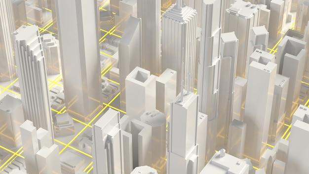Городской горизонт 3d-рендеринга. техно-мегаполисы-небоскребы.