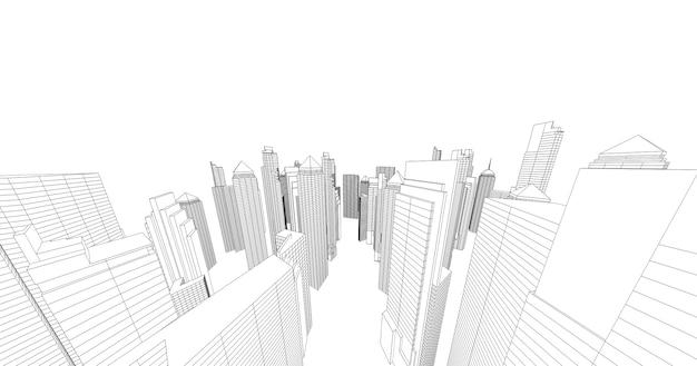 도시의 고층 빌딩 스케치