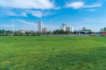 City square park lawn