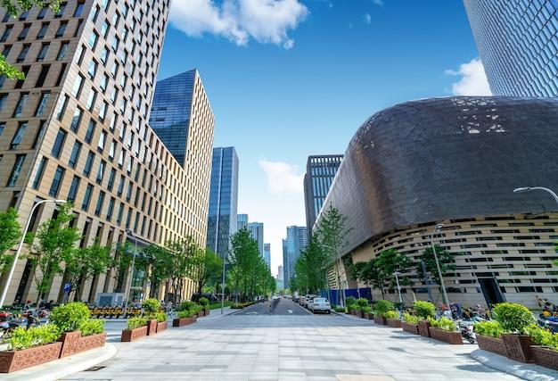 City square and skyscraper
