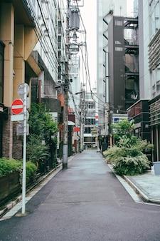 標識や木々のある街の通り