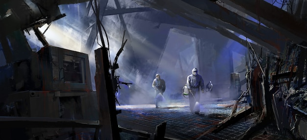 In the city that was hit hard, medical staff disinfected the ruins illustration.