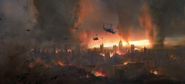 City in a tornado, doomsday scene illustration.