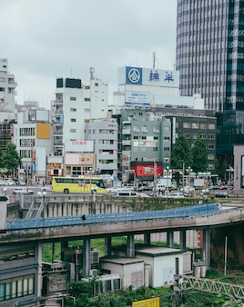 City traffic on bridge