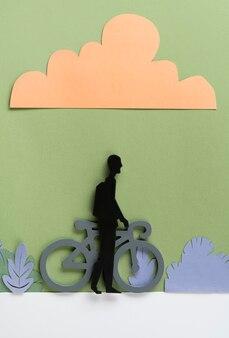 Concetto di trasporto urbano con uomo in bicicletta