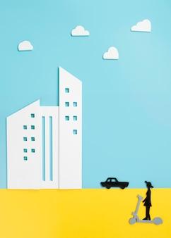 스쿠터에 사람과 도시 교통 개념