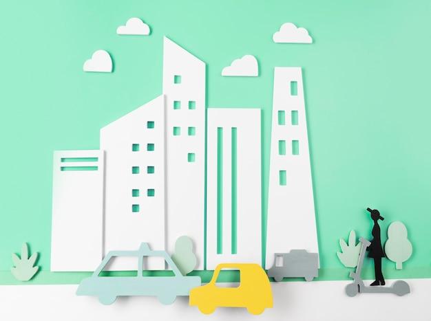 자동차와 함께 도시 교통 개념