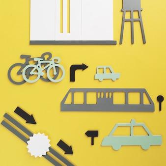 Концепция городского транспорта с предметами