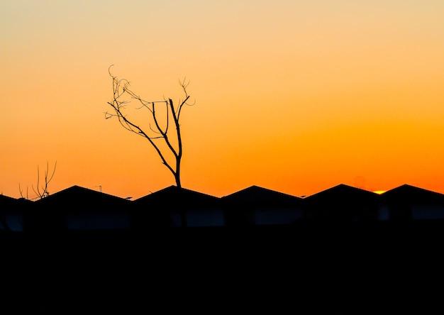都市の都市の切妻屋根は、日没のオレンジ色の空の図のシルエットを収容します