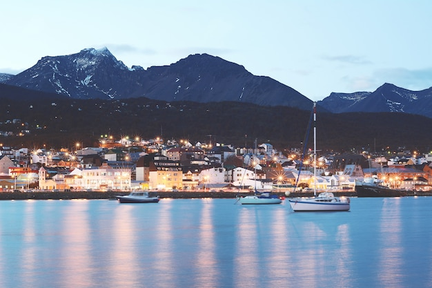 City of ushuaia at the sunset.