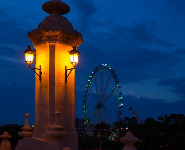 City of valencia night bridge puente del mar