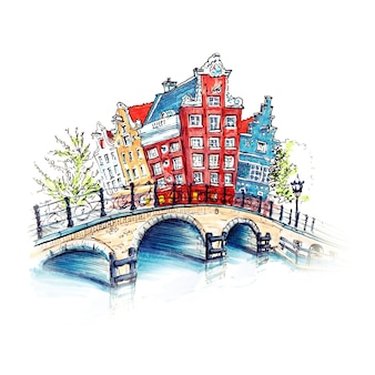 City view of amsterdam canal and brifge