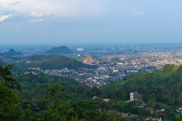 City view from the point on top of mountain , lampung, indonesia