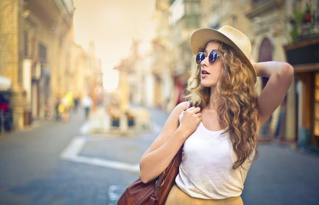 City walk in summer