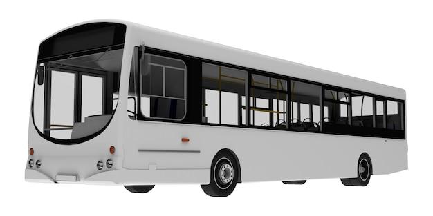 도시 흰색 버스 템플릿