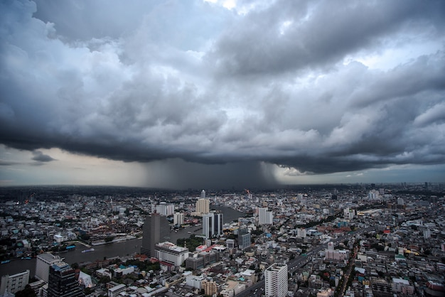City in a wide view ambient atmosphere in bangkok, thailand