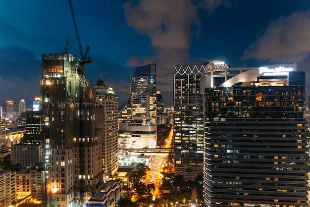 Cityscape bangkok skyline at night, thailand.