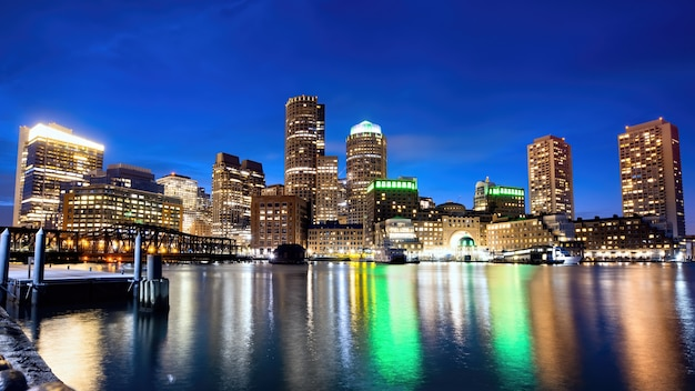 Cityscape of boston downtown at night