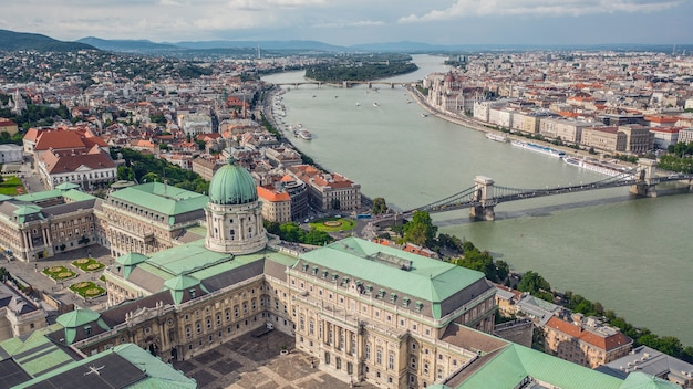 Cityscape of budapest on a sunny day. aerial view