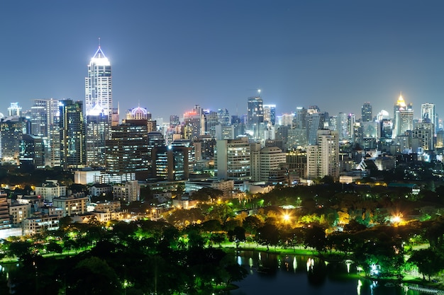 Cityscape of business district with high building with park. (bangkok, thailand)