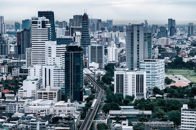 Cityscape of crowded city with high-rise in downtown at business district. bangkok