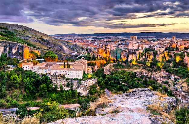 Cityscape of cuenca at sunset in spain