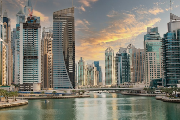 Cityscape of dubai in dubai marina bay