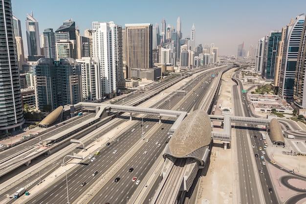 Cityscape of dubai, united arab emirates. aerial view