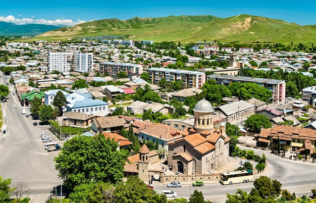 Cityscape of gori with the nativity of mary cathedral, georgia