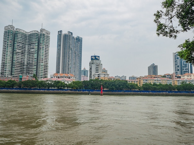 Cityscape of guangzhou city with pearl river.guangzhou also known as canton is the capital and most populous city of the province of guangdong