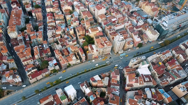 Городской пейзаж стамбул, турция. фото с высоты птичьего полета