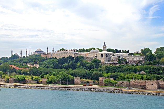 The cityscape of istanbul, turkey, view from bosporus strait
