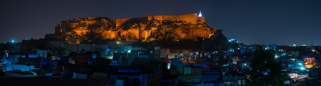Cityscape of jodhpur at dusk.