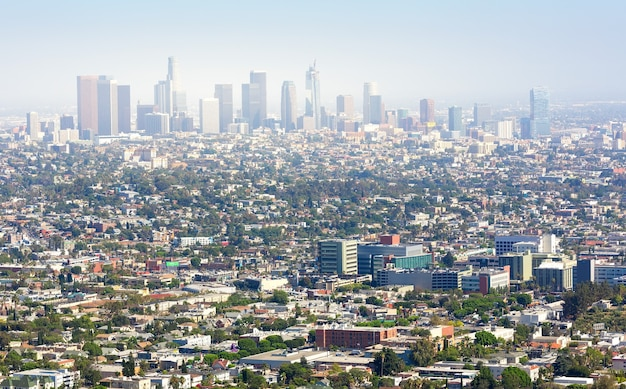 Cityscape of los angeles architecture at sunset