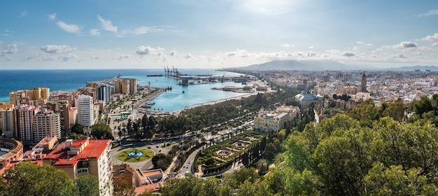 Cityscape of malaga with the harbour and some of the main monuments to be recognised