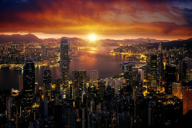 Cityscape of marning sunrise and hong kong city fron victoria peak
