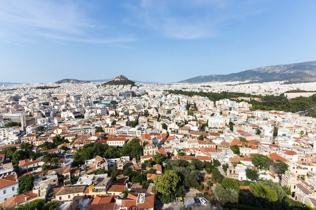 Cityscape of modern athens, capital of greece 2016 view from above