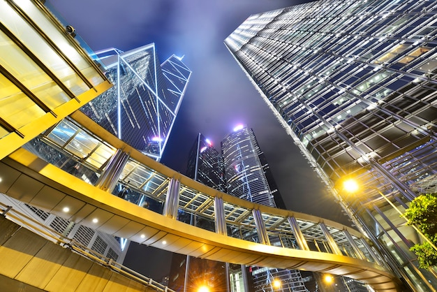 Cityscape modern office buildings in central hong kong at night