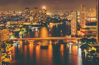 Cityscape of Bangkok at night Thailand
