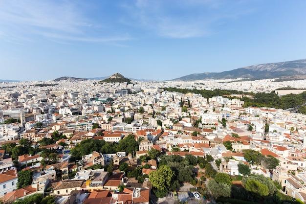 위에서 내려다본 그리스 2016년의 수도인 현대 아테네의 풍경