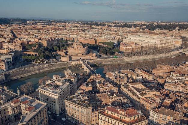 로마의 도시 풍경, 조감도. 세인트 안젤로 성, 다리 및 테베레 강