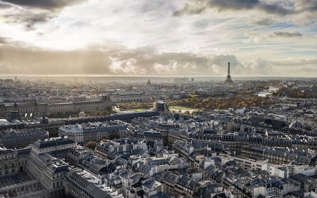 Cityscape of paris in autumn. aerial view