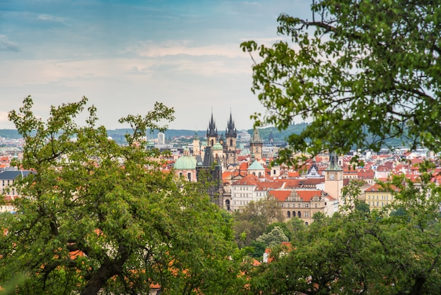 Cityscape of prague in middle of the day with cloudy day