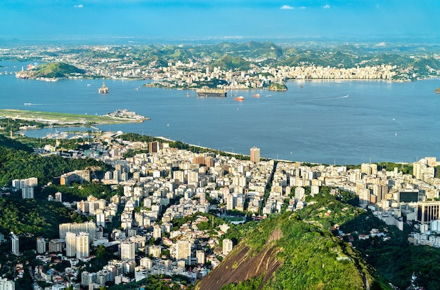 Cityscape of rio de janeiro and niteroi from corcovado in brazil